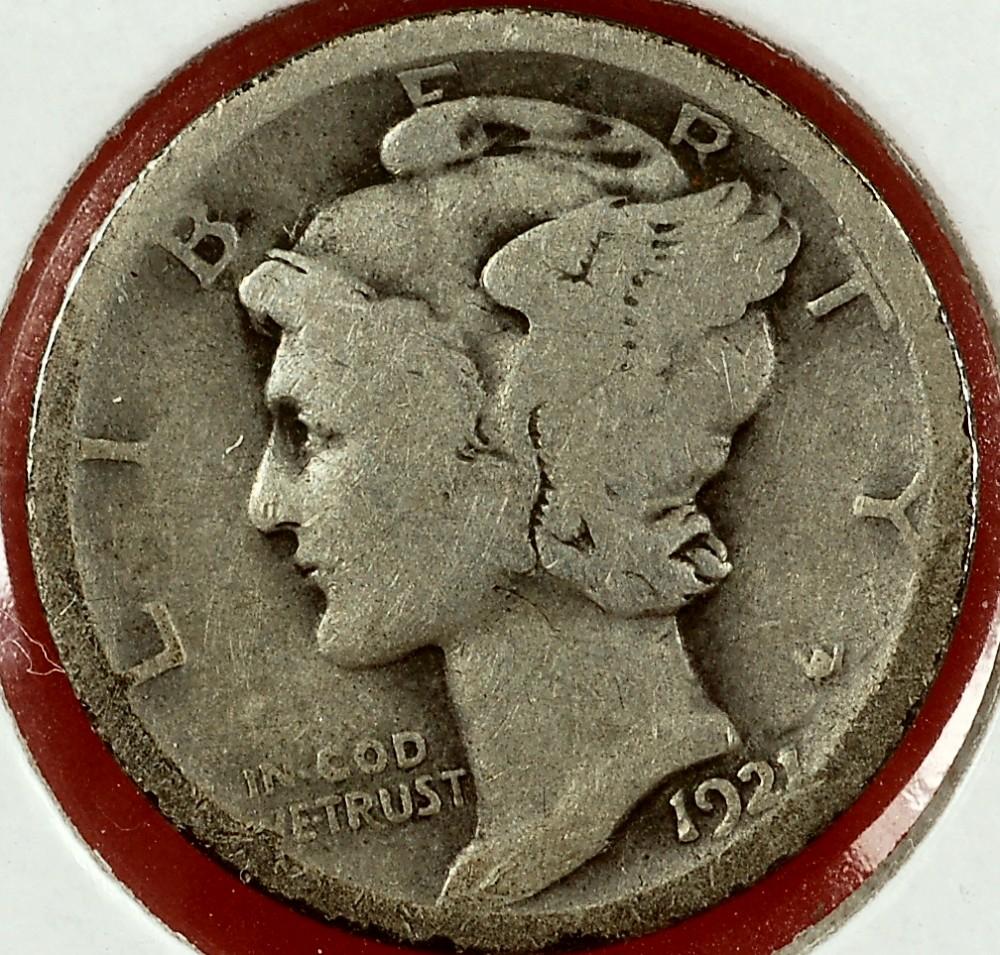 1921 Mercury Dime for sale.