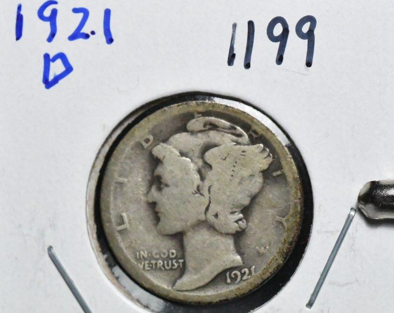 1921 D Mercury Dime for sale.