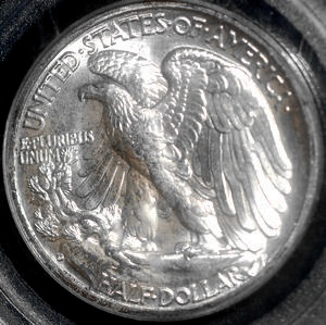 1943 D Walking Liberty Half Dollar PCGS Blast White MS-66 for sale.