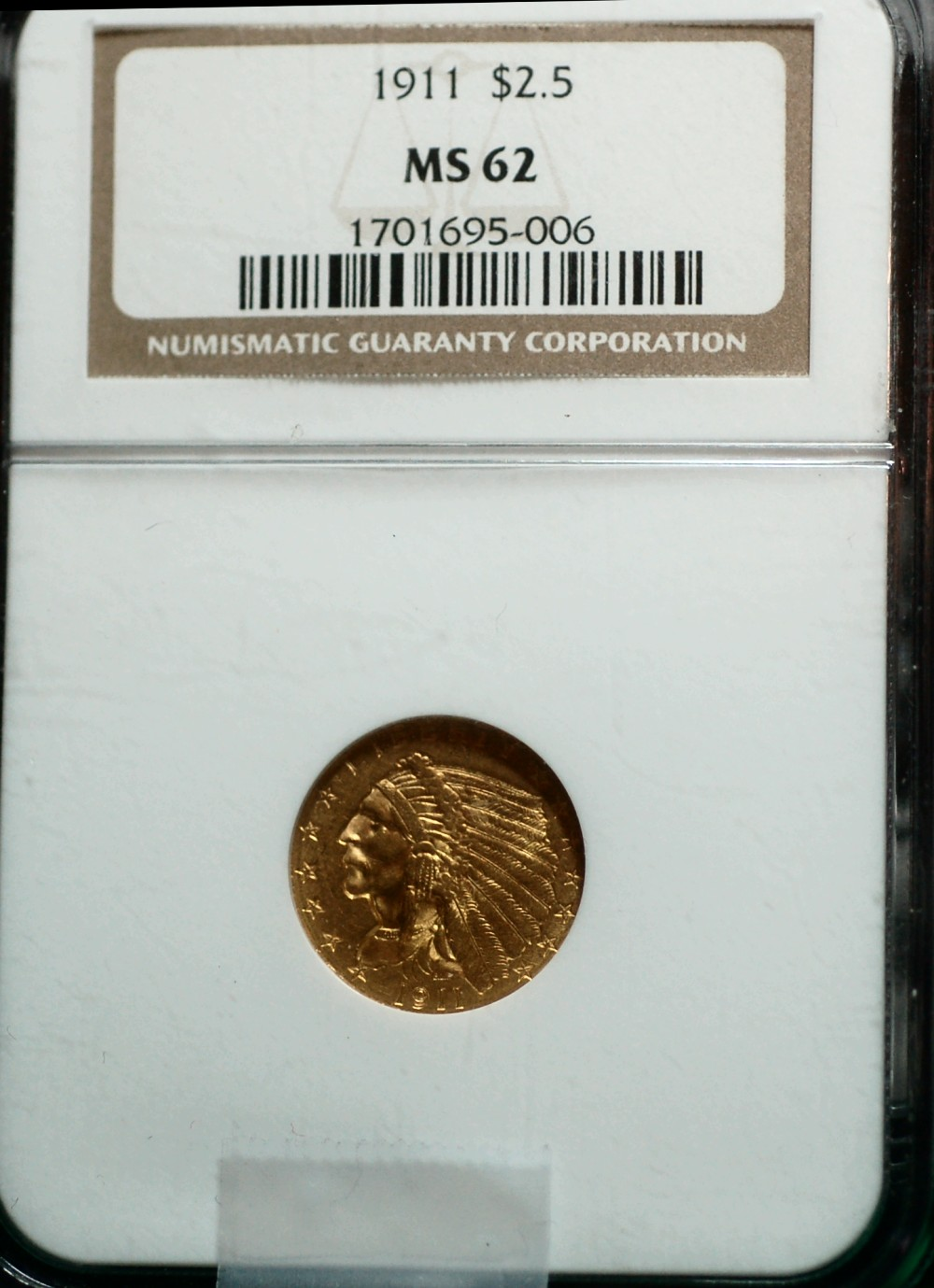 1911 2 1/2$ Gold Indian NGC for sale.