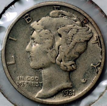1931 S Mercury Dime for sale.