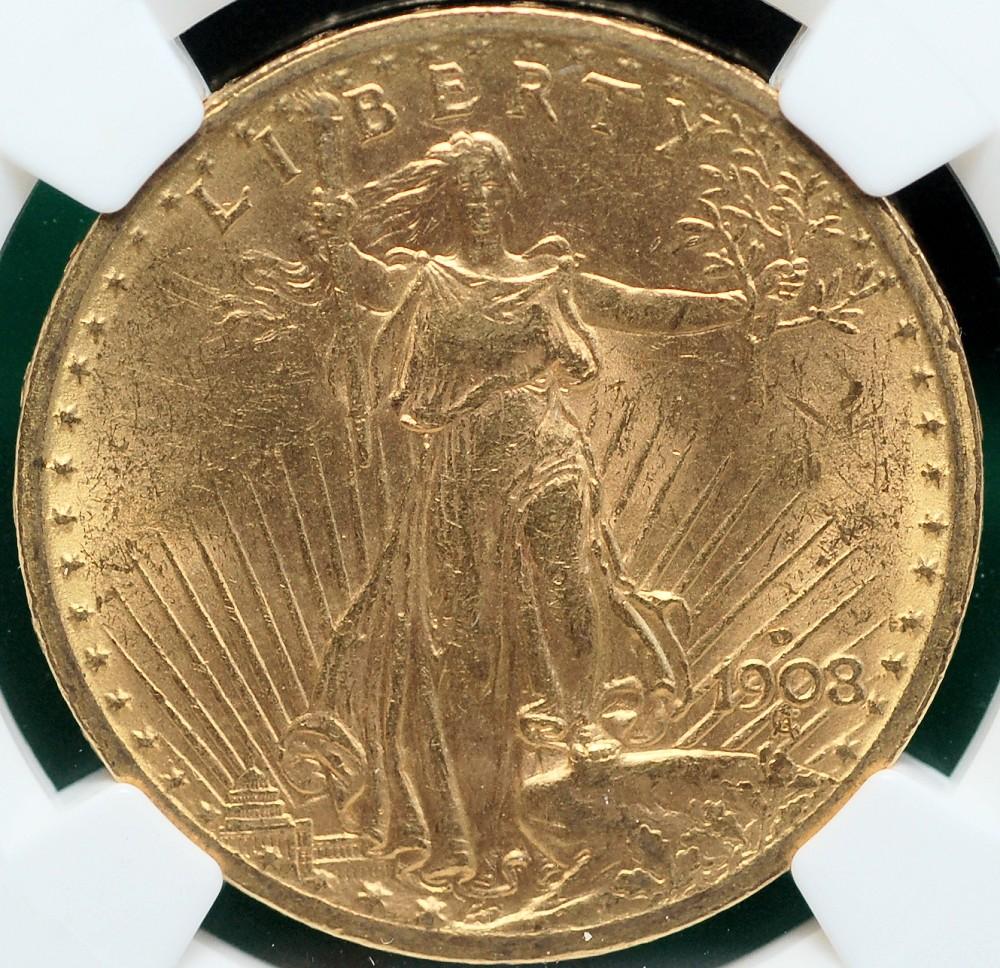 1908 D 20$ Gold Saint No Motto NGC for sale.