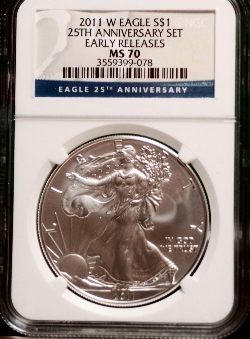 2011 W Silver Eagle PCGS Blue Label F. S. 25th Anniversary for sale.