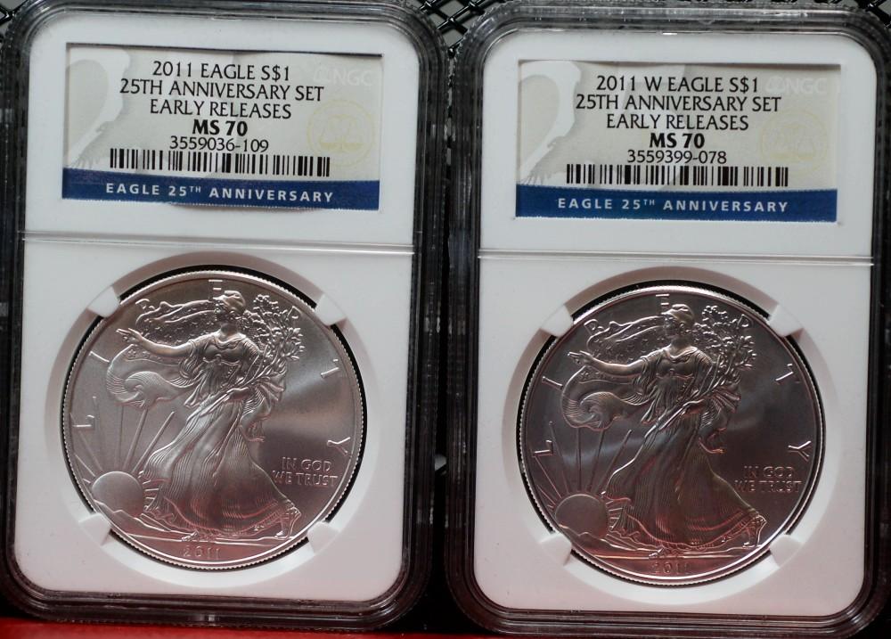 2011 Silver Eagle PCGS Blue Label F. S. 25th Anniversary for sale.