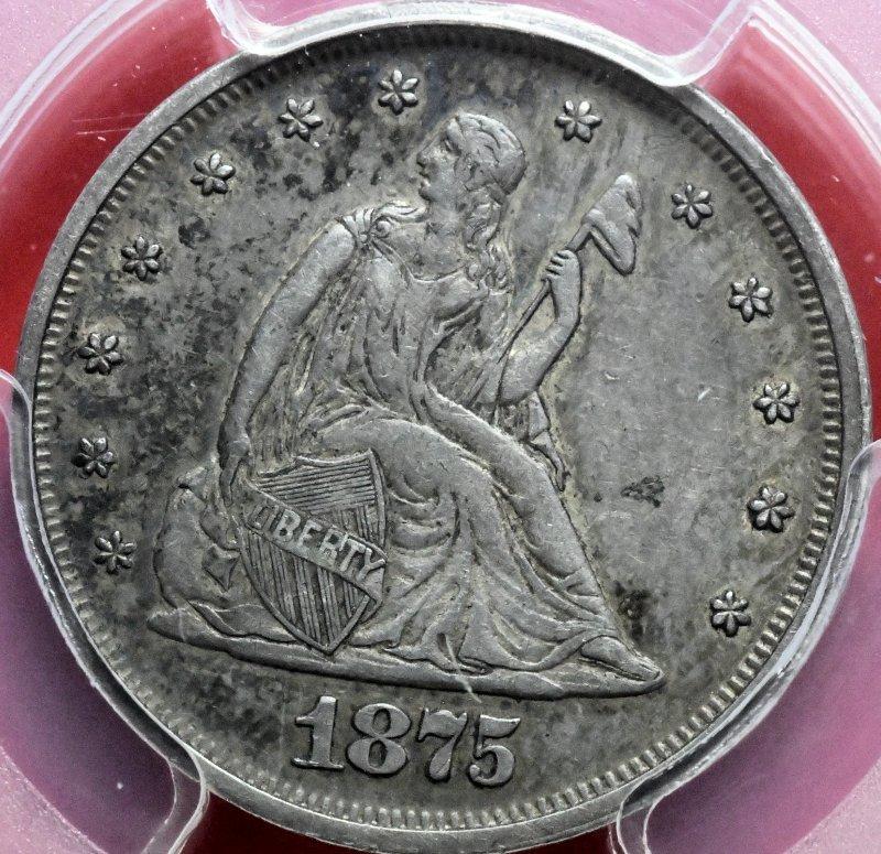 1875 Twenty Cents PCGS for sale.