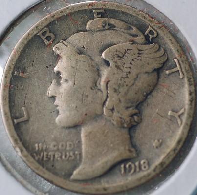 1918 S Mercury Dime for sale.
