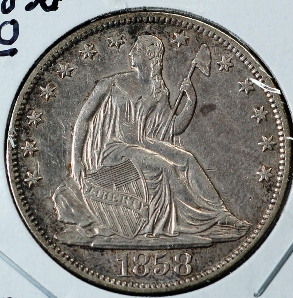 1858 O Liberty Seated Half Dollar No Motto for sale.